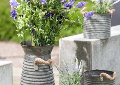 Vier Vasen aus Blech mit Lavendel Strauch